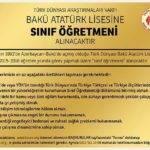 Bakü Atatürk Lisesi'ne Sınıf Öğretmeni Alınacaktır